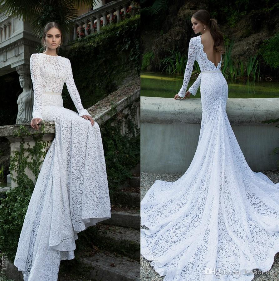 Cheap 2014 Wedding Dresses - Discount 2014 Fascinating White Lace Wedding Dresses Bateau Neck Long Sleeves Backless Sexy Vintage Mermaid Court Train Bridal Gowns Online with $145.1/Piece | DHgate