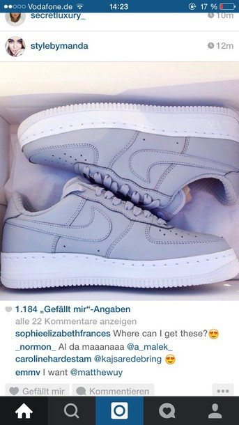 shoes grey white nike air force nike sneakers