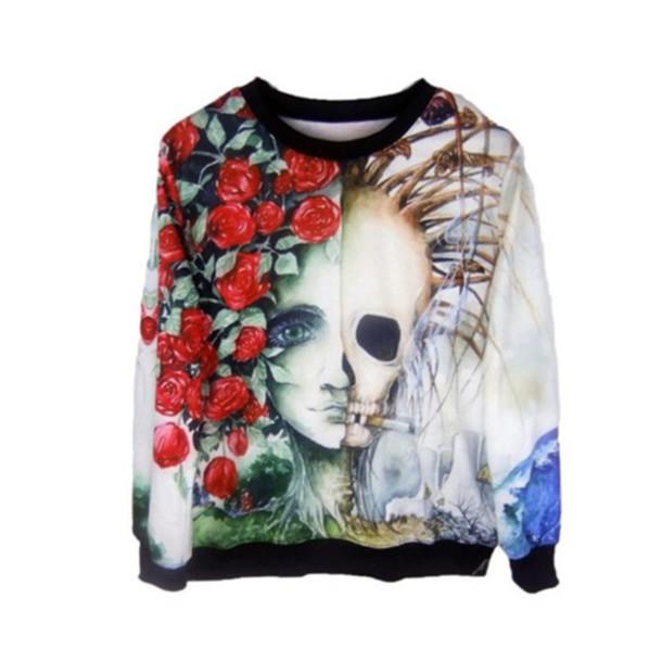 02de82b9e0f13 sweater pullover cotton punk goth grunge alternative tattoo skull flowers  cool creeps roses bones long sleeves