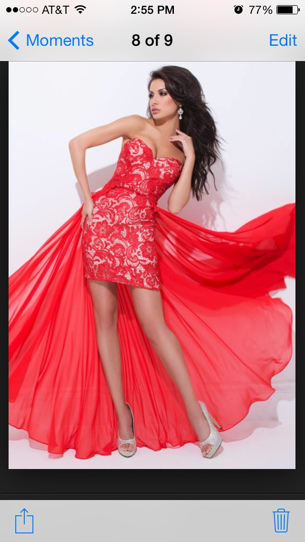 wedding dress lace dress high-low dresses jewels red dress gold fashion high heels dress party party dress