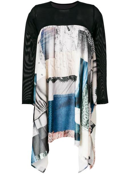 Mm6 Maison Margiela dress patchwork women spandex blue