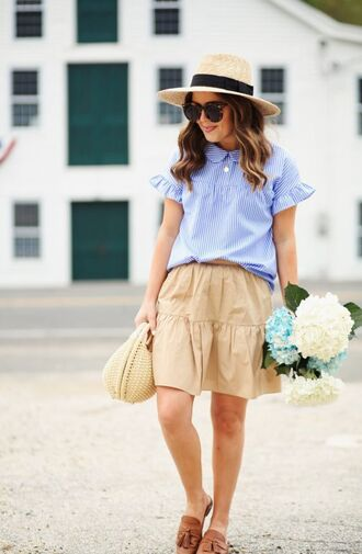 skirt hat tumblr mini skirt nude skirt top blue top flat sandals flats sun hat bag basket bag sunglasses