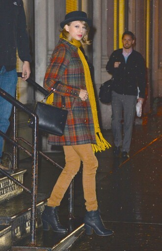 coat pants scarf hat taylor swift fall outfits shoes