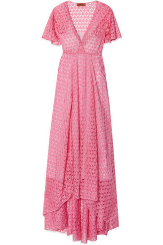 dress maxi dress maxi knit pink crochet