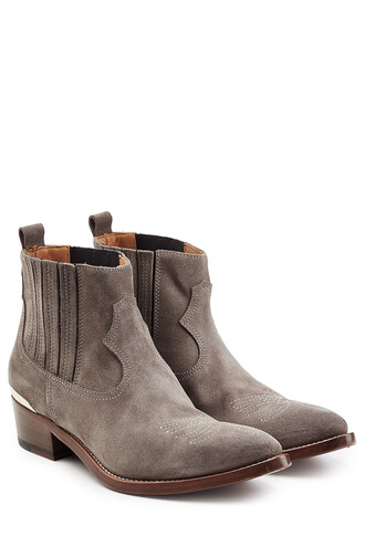 cowboy boots boots suede grey shoes