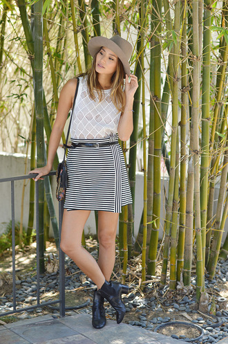 skirt blouse ankle boots jamie chung blogger hat top