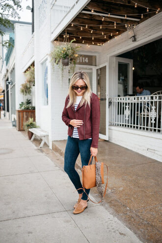 bows&sequins blogger cardigan sweater shoes bag jewels jacket fall outfits striped sweater handbag skinny jeans