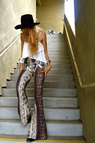 pants hippie chic wide leg wide-leg pants boho bohemian boho pants tribal pattern summer hot cool cute clothes 70s style white brown blue belt blouse print leggings aztec leggings bell bottoms high waisted silver belt jeans paisley bell bottom pants bottoms coachella