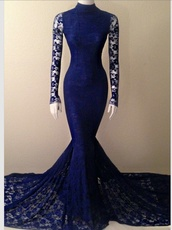 dress,blue,prom dress,mermaid prom dress,mermaid,lace dress,lace,long sleeves,long prom dress,royal blue,royal blue dress,blue dress,tight,form fitting dress,black dress,prom gown,prom,high neck dress,navy