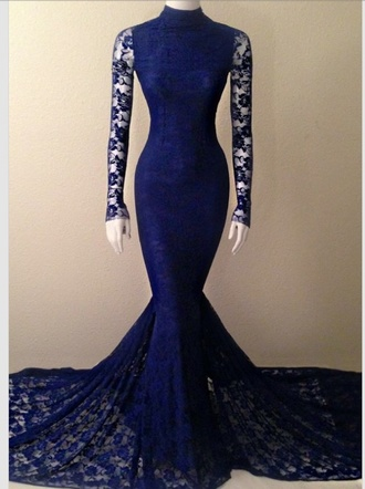 dress blue prom dress mermaid prom dress mermaid lace dress lace long sleeves long prom dress royal blue royal blue dress blue dress tight form fitting dress black dress prom gown prom high neck dress navy
