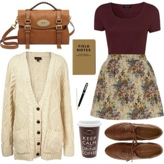 dress shoes sweater skirt bag knitted sweater white sweater white knit sweater cardigan vintage floral skirt tapestry flowers pretty dark pink floral mini dress summer outfits leather bag ankle boots