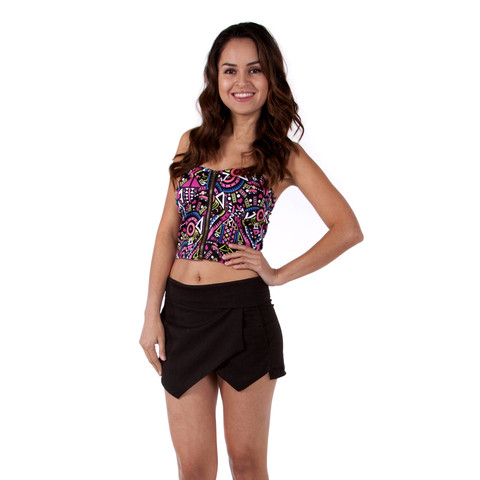 Black Mini Skirt - Black Tiered Tulip Skort | UsTrendy