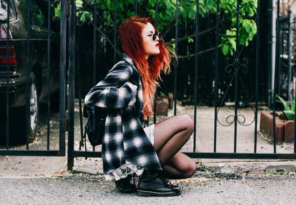 fashion lookbook le happy blogger jacket indie trendy hipster shirt alternative grunge hairstyles sunglasses checkered style