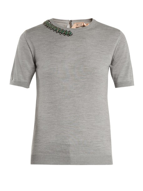 No. 21 top embellished silk wool grey