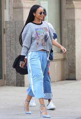 pants tumblr rihanna celebrity style celebrity sweatpants blue pants cropped pants sweatshirt cropped hoodie hoodie grey sweater grey top pumps pointed toe pumps high heels blue heels sunglasses streetstyle