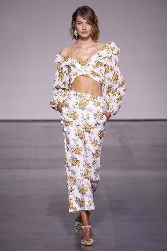 top crop tops pants nyfw 2017 ny fashion week 2017 runway floral flowers zimmermann