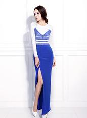 skirt,bqueen,fashion,girl,blue,long,chic,elasticity,slit,ustrendy