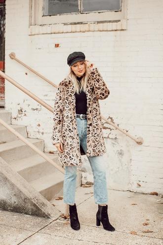love lenore blogger coat jeans hat shoes top belt