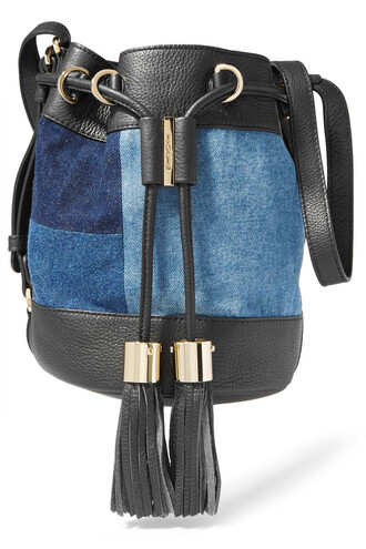 denim patchwork bag bucket bag leather