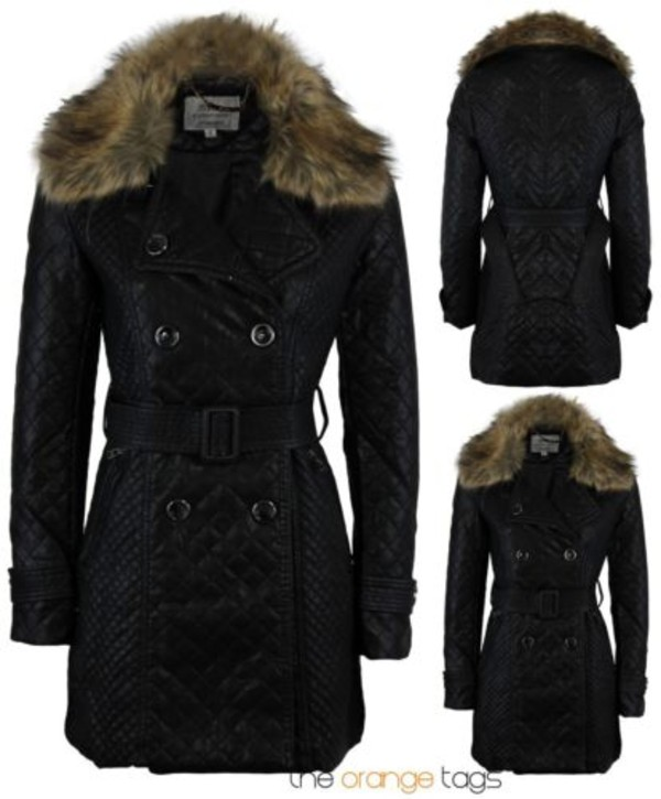 coat women ladies pvc faux leather full sleeve fur coat fur neck belted panel smart casual trendy black faux leather dress quilted long jacket big buttons
