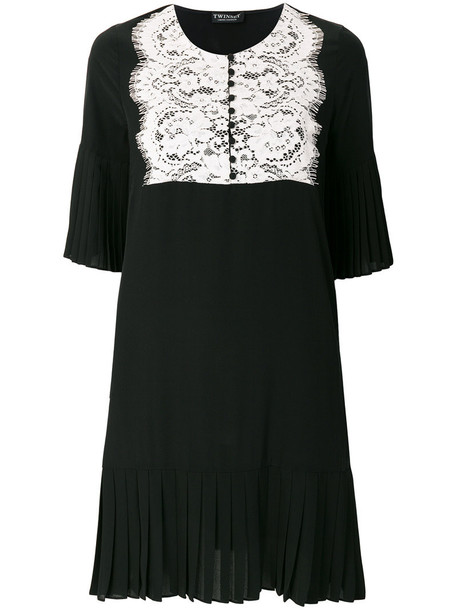 dress women lace cotton black silk