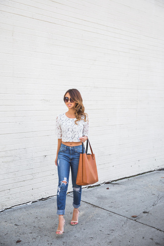 lace and locks blogger ripped jeans white crop tops tote bag top jeans shoes bag sunglasses