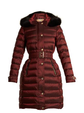coat fur quilted dark dark red red