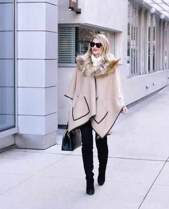 visions of vogue blogger leggings shoes bag sunglasses jewels poncho fall outfits beige coat thigh high boots handbag black bag