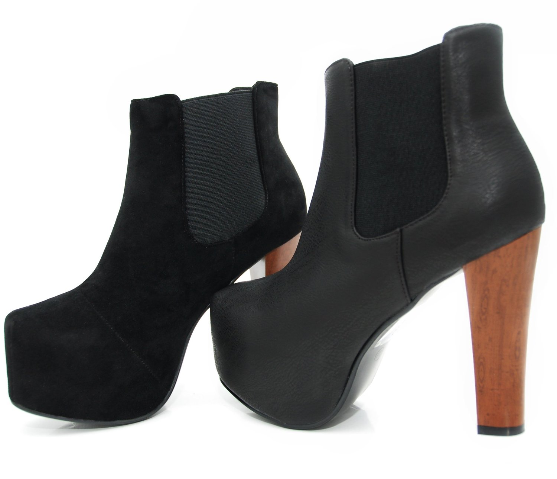 kayla shoes plateau chelsea boots holzabsatz optik. Black Bedroom Furniture Sets. Home Design Ideas