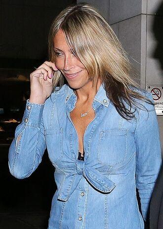shirt denim cleavage blouse celebrity bow tie front nicole appleton