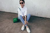 tricia gosingtian,blogger,top,jeans,shoes,bag,jewels,sunglasses