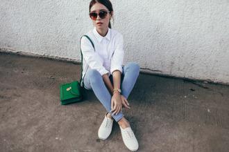 tricia gosingtian blogger top jeans shoes bag jewels sunglasses