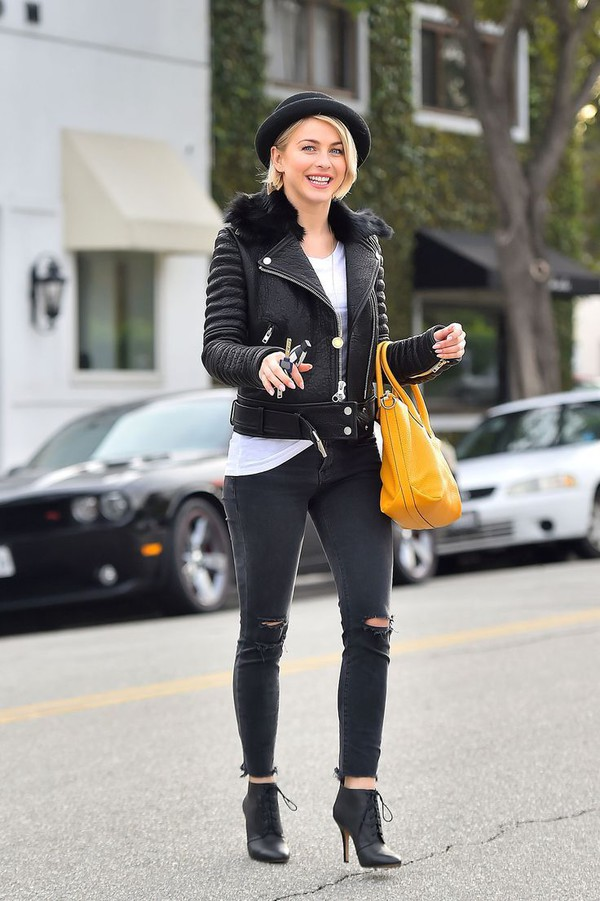 jeans black hat leather jacket white shirt yellow bag black heels blogger black ripped jeans