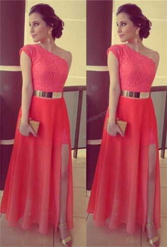 dress prom dress lace dress evening dress gold belt chiffon sexy dress
