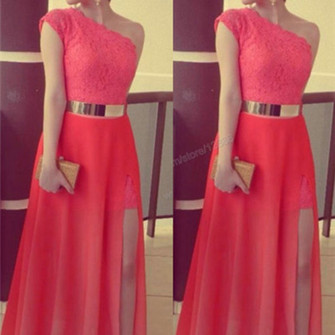 dress prom dress lace dress gold belt evening dress