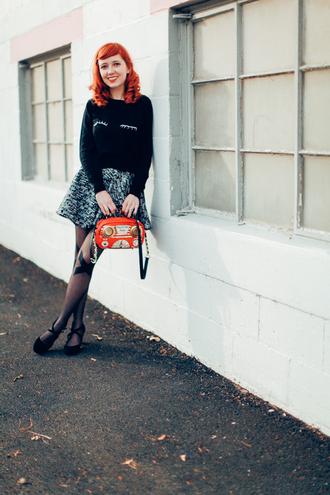 the clothes blogger tights bag skater skirt grey skirt jumper