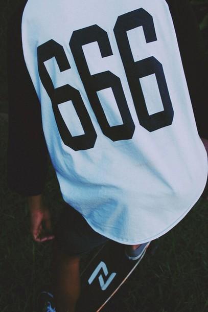t-shirt white t-shirt 666