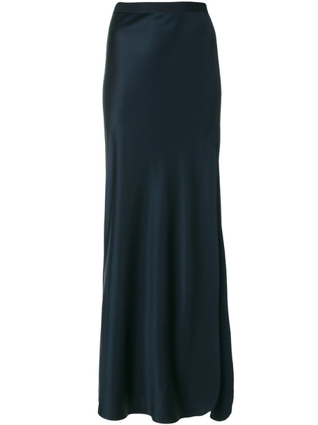 Nili Lotan skirt slit skirt maxi women slit blue silk