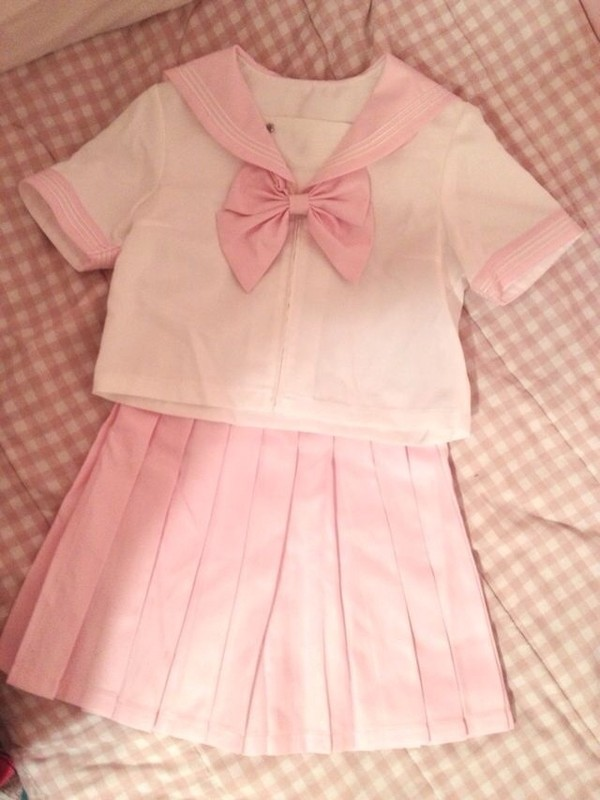 shirt japanese fashion sailor shirt pink kawaii japanese school girl