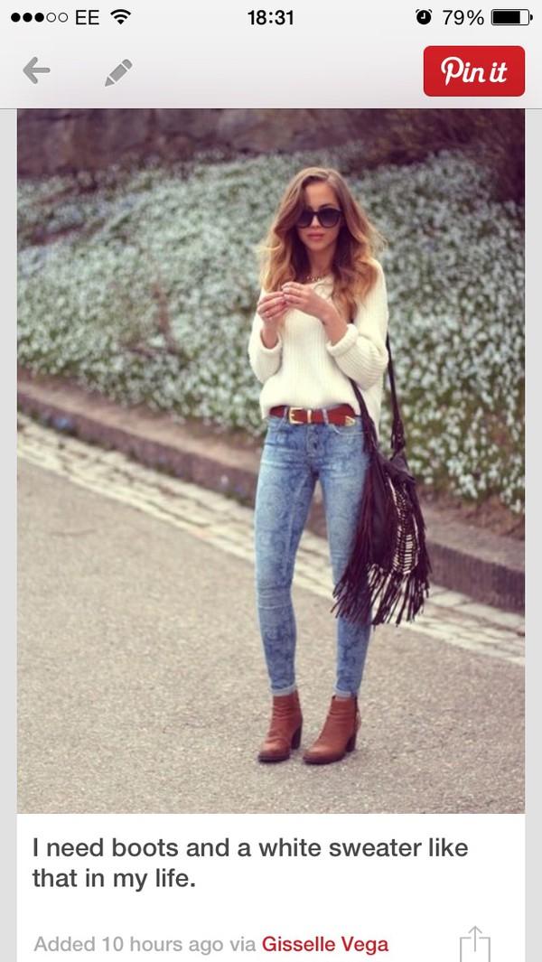 cream sweater sweater jumper cream high heels fashion jeans belt
