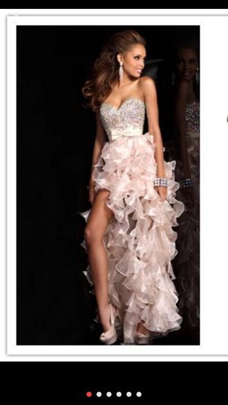dress champagne dress high low dress prom dress