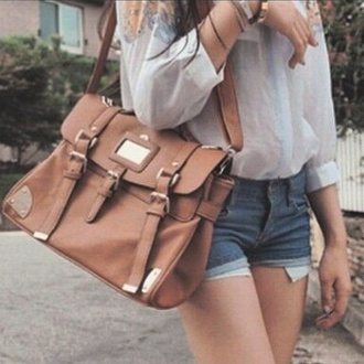 bag brown vintage back to school messenger satchel purse leather
