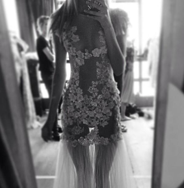 dress elegant see through flowers