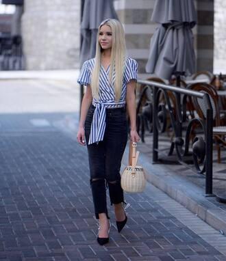 top tumblr crop tops stripes striped top denim jeans black jewelry bag basket bag slingbacks shoes