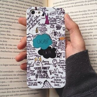 jewels iphone case the fault in our stars book iphone 5 case grey john green fluffy cool 90s style goth pastel goth white iphone cover drawing writing