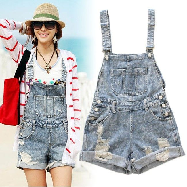 Denim Acid Wash Destroyed Mini Jumpsuit Overall Shorts Jeans Pant Romper Overall