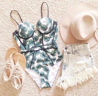 swimwear green swimwear white swimwear