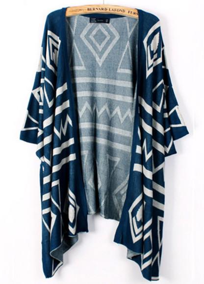 blue tribal pattern vintage cardigan print kimono sweater