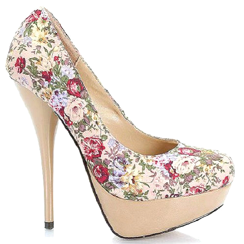 Cutesy originals – nicole taupe floral platform stiletto heels