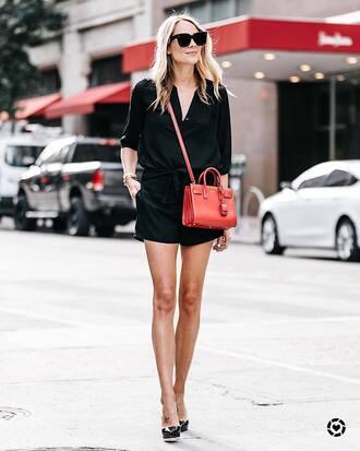 shirt black shirt shorts black shorts bag sunglasses tumblr red bag crossbody bag pumps pointed toe pumps high heel pumps shoes